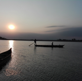 Sunset at the mighty brahmaputra river