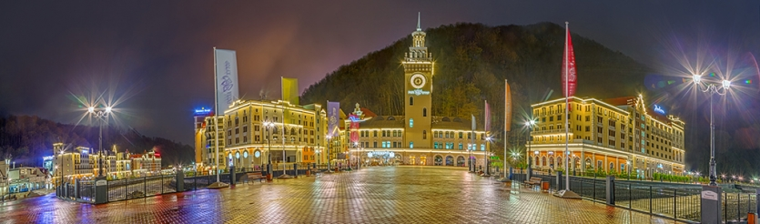 "Night panorama of ""Rosa Khutor"" Alpine Resort. Russia, Sochi city"