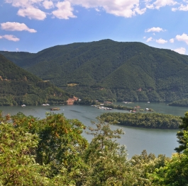 Panoramic View of the Vacha Dam in the Summer