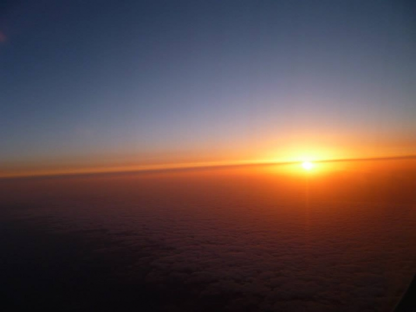 Sunrise seen from the Airplane - Above Timisoara