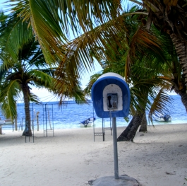 Village, beach and ... telephone