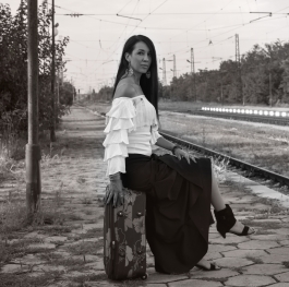 Lady on railway station