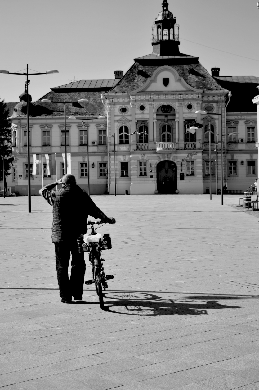 Old man with a bike