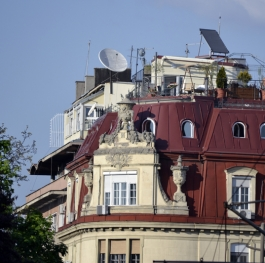 garden on the red roof of a building in Belgrade, Serbia