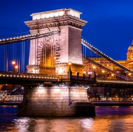 Beautiful Budapest Chain Bridge and Buda Castle at night.