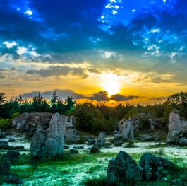 Sunset over the stones