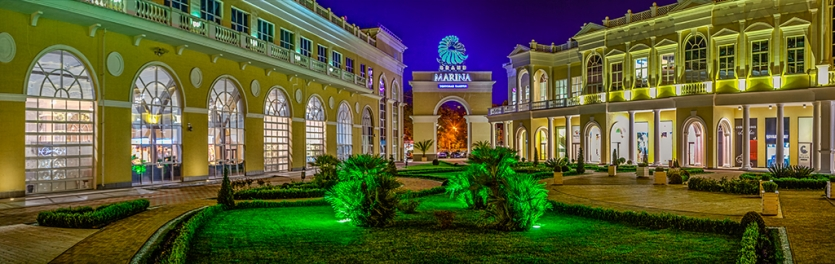 "Winter panorama of trade gallery ""Grand Marina"" in Sochi"