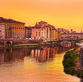 Sunset View of Ponte Vecchio , Florence