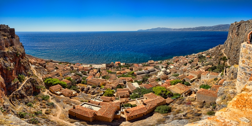 Panorama of Monemvasia Fortified Town