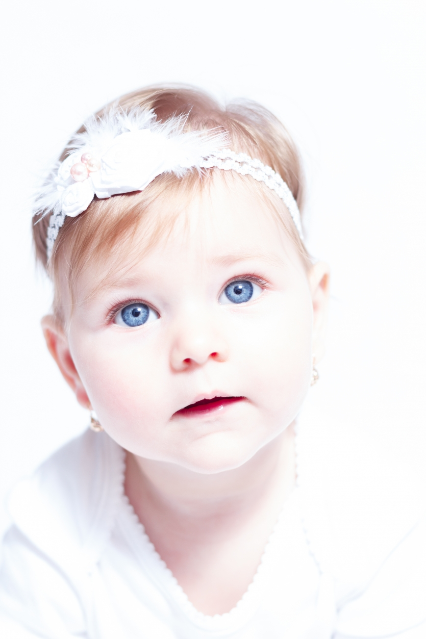 Baby girl with blue eyes