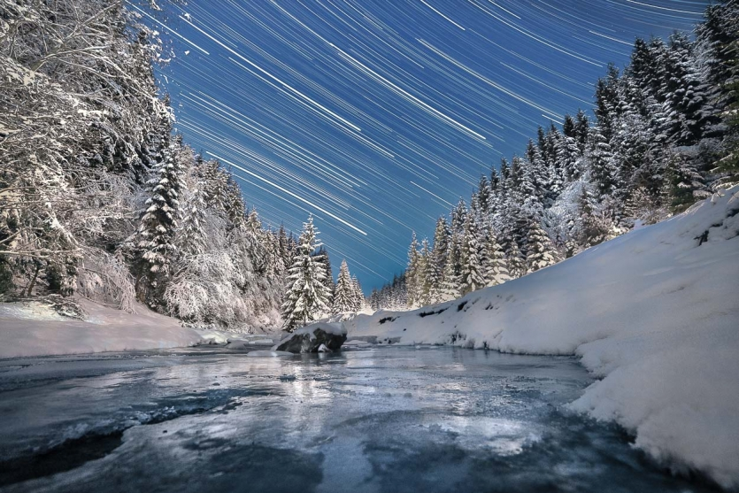 Winter night on mountain river