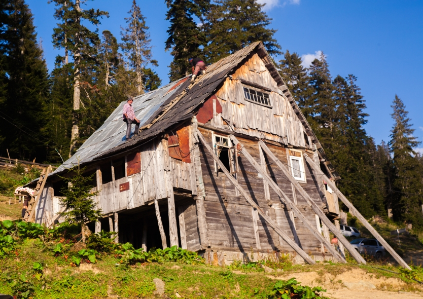 repairing old wooden house
