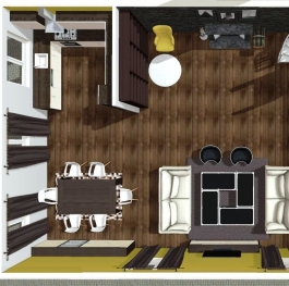 Living room and kitchen interior design project