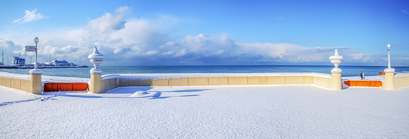 The snow-covered beach in the city of Sochi