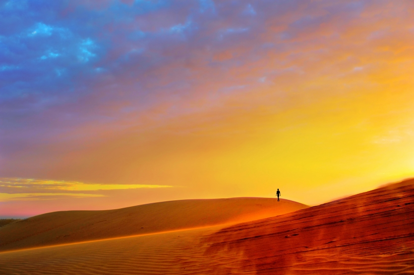 Sunset on the red dunes.