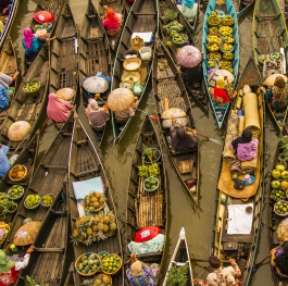 Wooden Boat in the Floating Market