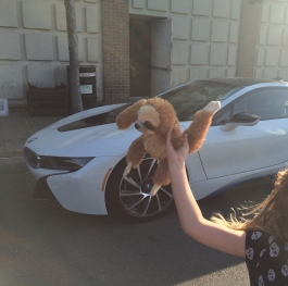 A car, a girl and a toy