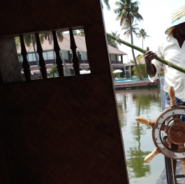 Being Helmsman, turning with bamboo wood