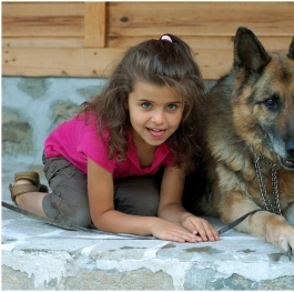 Little girl with a BIG friend...