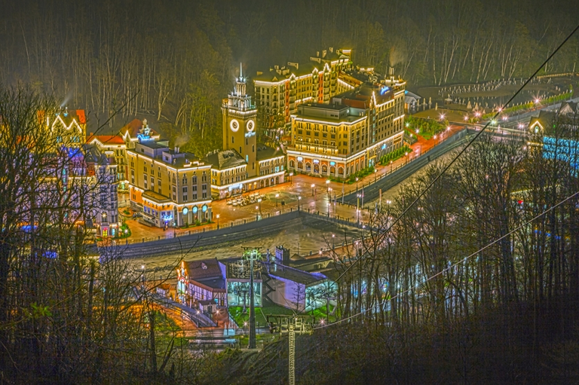 "Alpine skiing complex ""Rosa Khutor"" at night. Russia, Sochi city"