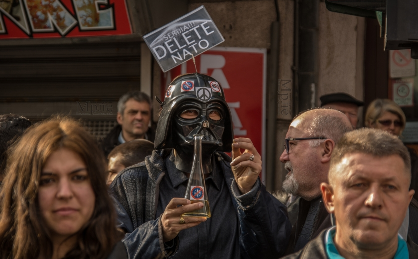 Anti-NATO protester from Dark Force