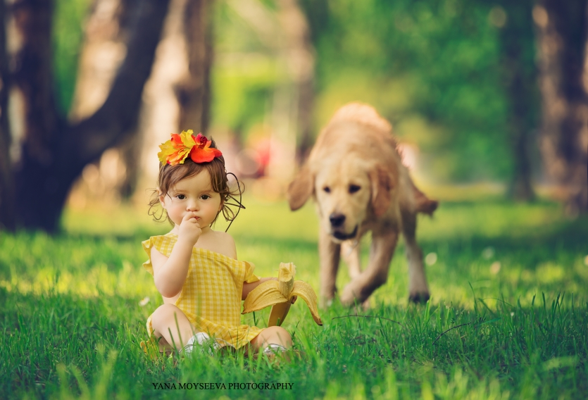 The baby, the banana, and the dog