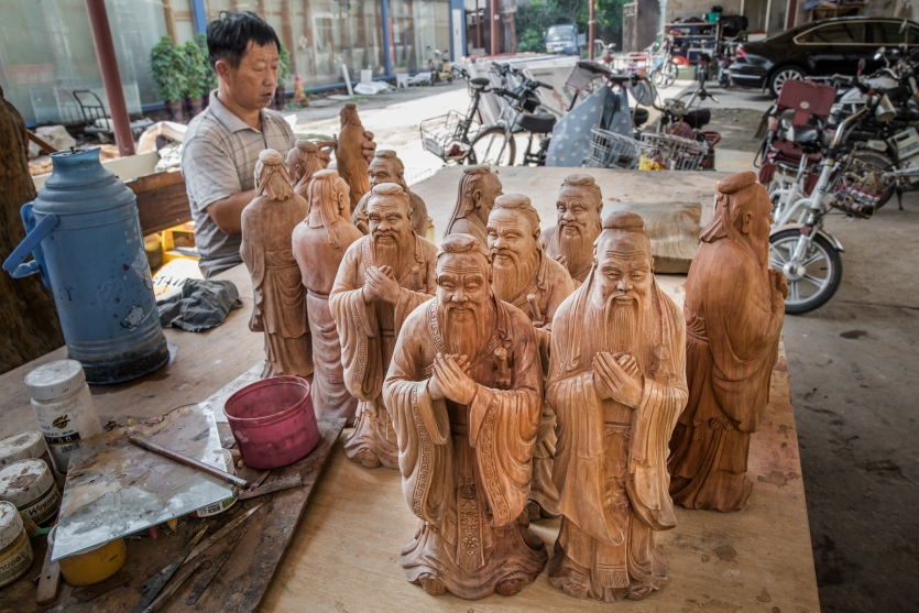 Wood carvings of Confucius