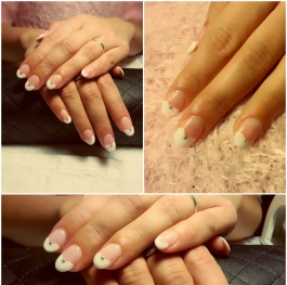 French White - Heart shaped manicure