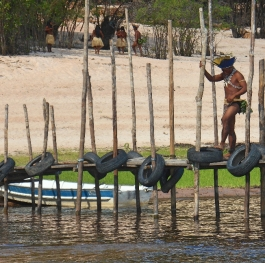 Indigenous person on the quayside