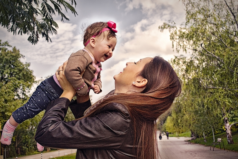 Cute baby and mommy