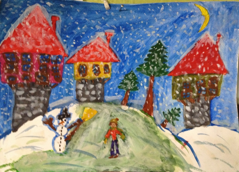 """Calm winter evening in the old Bulgarian village"" - from my son Boris (8)"