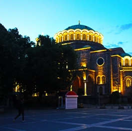 In the evening the center of Sofia Holy Sunday and behind the Mosque
