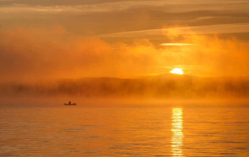Sunrise on Tavatuy lake. Russia, Urals