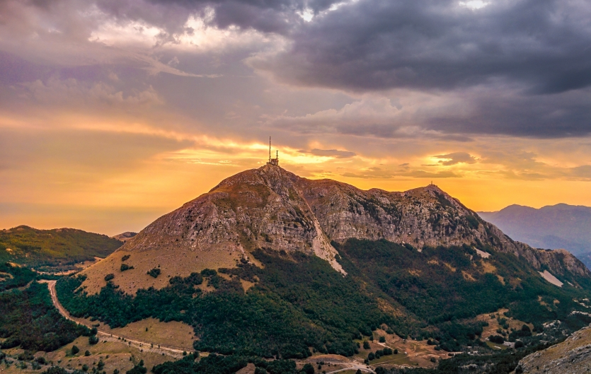 Sunset on mountain Lovcen