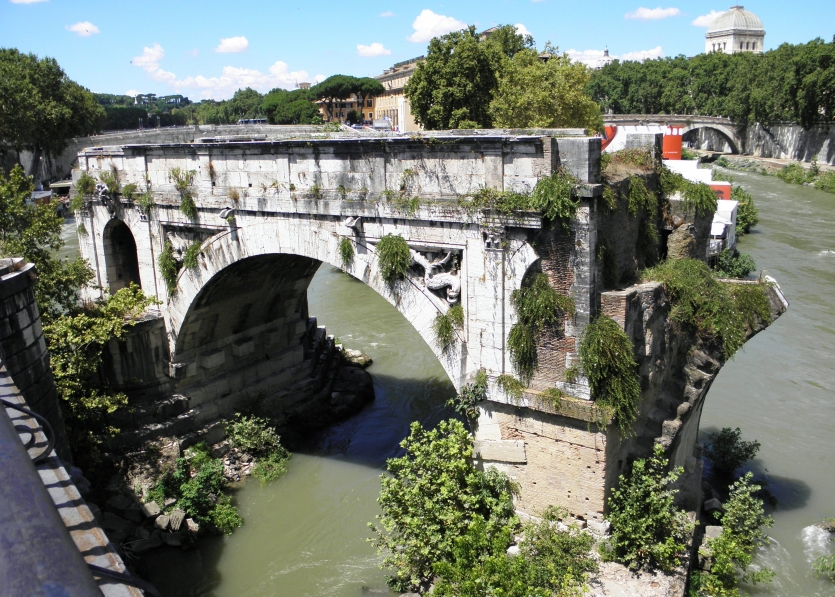 Rome, only surviving arch of an old bridge,  commonly known as Ponte Rotto, i.e. broken bridge,