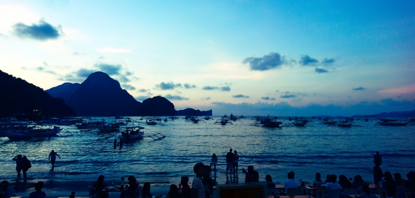 El Nido Beach at sundown