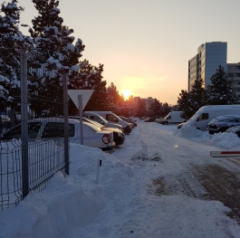 Sunset in the city with snow!
