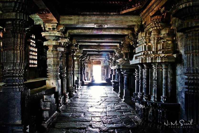 Interior view of old Indian temple