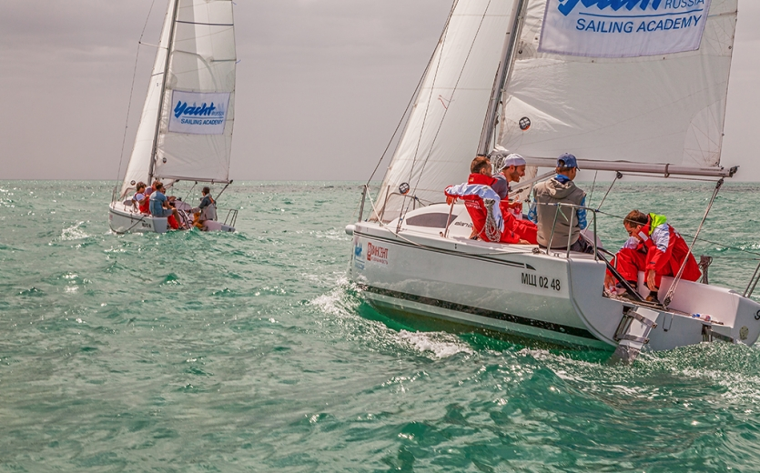 "The racing yachts ""Elan 210"" going to the finish"