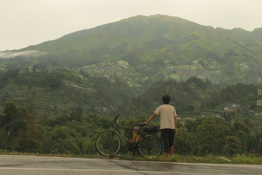 Enjoying the view of Mt. Merbabu after a long day on the tour.