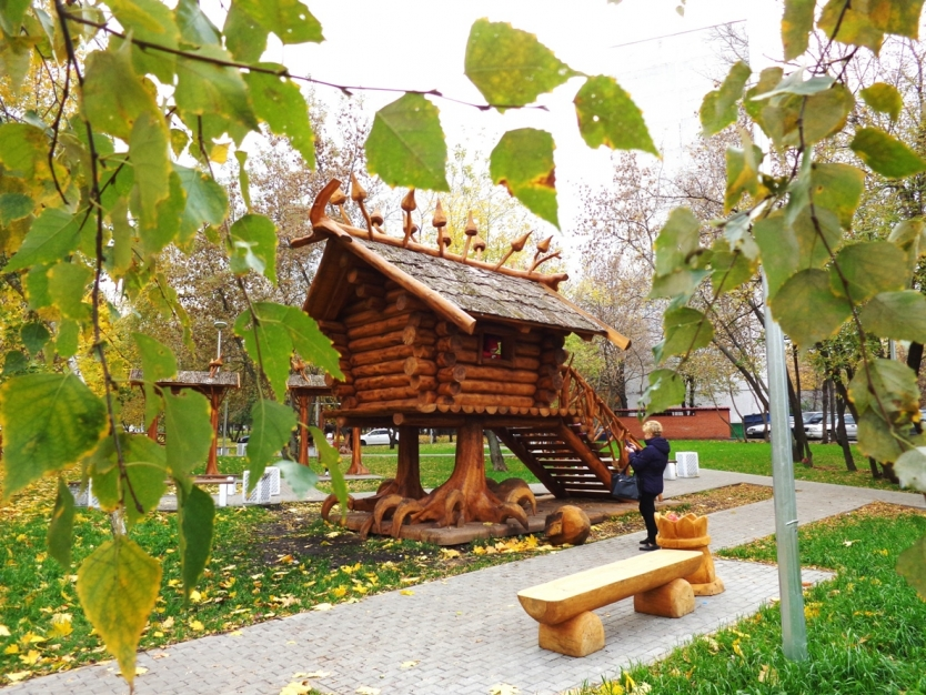 Russian folklore Baba Yaga's chicken-legged hut in Moscow