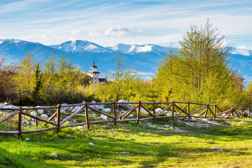 Bansko outskirts spring landscape with Pirin mountains