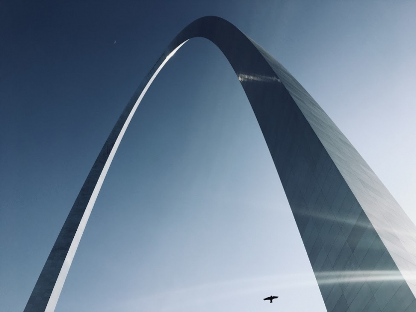 A Bird and Moon Visit the Gateway Arch