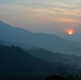 Sun rise in the Mountain,Munnar,Kerala,India