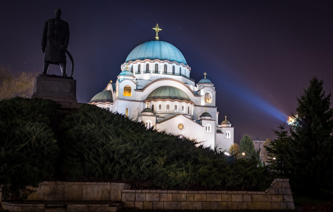 St. Sava temple in Belgrade, Serbia, in long exposure shot
