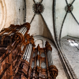 Magestic pipe organ with wood decoration