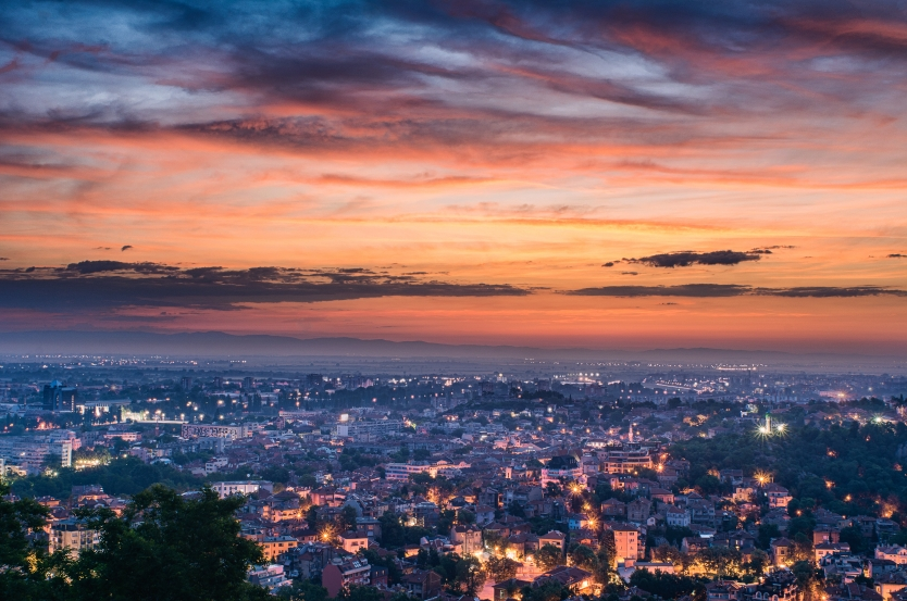 Sunrise over Plovdiv