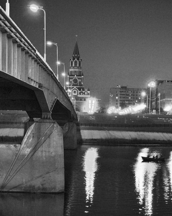 Bridge over night river