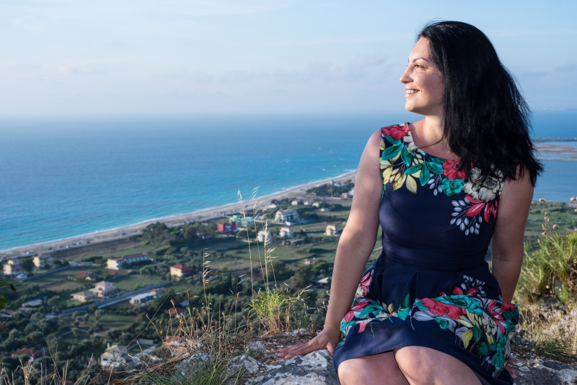 Woman admiring Lefkada from top
