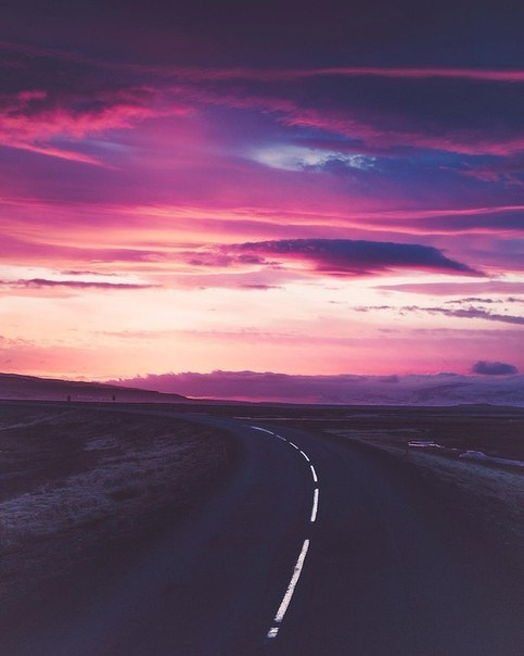 beautiful sunset on the road
